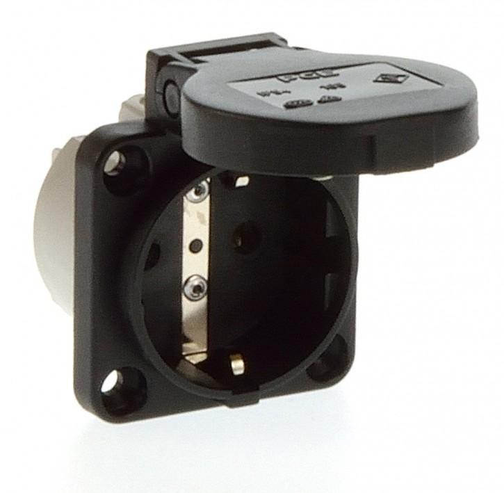 PCE 105-0s Einbausteckdose Steckdose Schuko schwarz