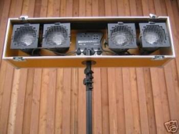 Flightcase Lichtanlage 4 x Par 56 mit Funksteuerung