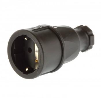 PCE Schukokupplung 230V/16A ip20 Schuko Kupplung schwarz  / Vollgummi