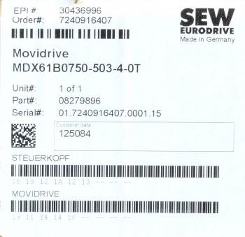 SEW Eurodrive MDX61B0750-503-4-0T Frequenzumrichter 2017