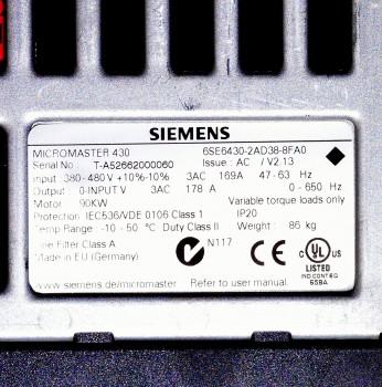 Siemens 6SE6430-2AD38-8FA0 Micromaster Frequenzumrichter 90KW ( ohne Bedienteil)