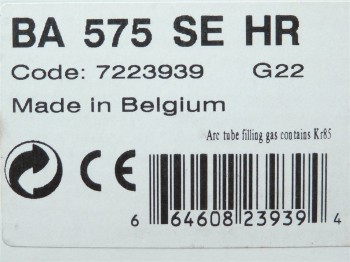 SLI Lighting BA 575 SE HR Code 7223939 Sockel G22