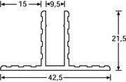 Alu Trennwandprofil für 9,5 mm 1m