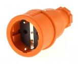 PCE Schukokupplung 230V/16A ip20 Schuko Kupplung orange  / Vollgummi