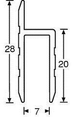 Serviceklappenprofil für 7mm Materialstärke 1m 6126