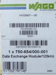 WAGO 750-654 000-001 Data Exchange Module 125KHz ean 4017332797146