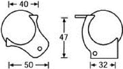 Kugelecke mittel für Deckelrahmen 52 mm 4127