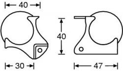 Kugelecke mittel gestuft für Deckelrahmen 45mm 4126