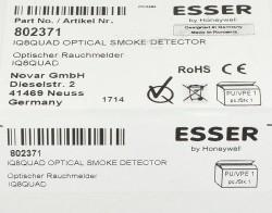 Esser Novar 802371 IQ8Quad O Optischer Rauchmelder 2014 / Verpackung geoffnet