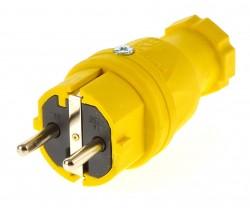 PCE Schukostecker 230V/16A ip44 Schuko Stecker gelb / Vollgummi