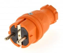 PCE Schukostecker 230V/16A ip44 Schuko Stecker orange / Vollgummi