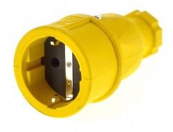 PCE Schukokupplung 230V/16A ip20 Schuko Kupplung gelb / Vollgummi