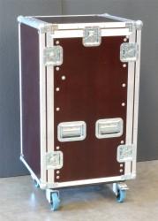 """Winkelrack Flightcase 19"""" Rack mit 3 Deckeln 18/10He R-Schiene mit Aufstellmechanik"""