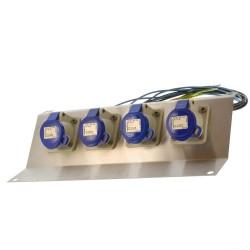 Stromverteiler CEE 3pol 4x16A auf VA Blech
