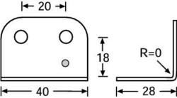 (Grundpreis 0,45€/Stk.) Vpe. 4 Stück L-Ecke 40x28 , verzinkt 4043