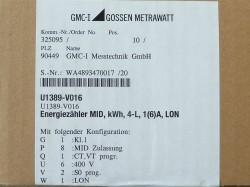 GMC-I Gossen Metrawatt U1389-V016 Energiezähler MID kWh 4-L 1(6)A LON