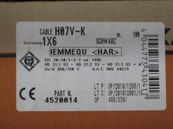 (Grundpreis 0,62€/m) H07V-K Litze 6mm² schwarz Aderleitung Einzelader 100m Ring