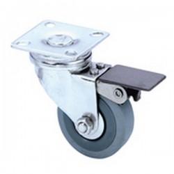 50mm Lenkrolle gebremst grau / 30 Kg Traglast