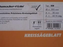 Kreissägeblatt Schumacher +Sohn HM 305mm Z60 W-neg